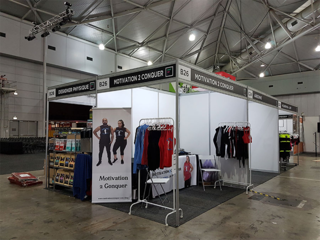 Motivation 2 Conquer Brisbane Expo October 2017 all set up and ready to go.