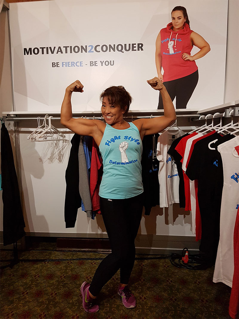 Mixed Martial Art World Competitor Karen Hashimoto loves our fight style tback. Activewear Trade Expo, CA 2017.